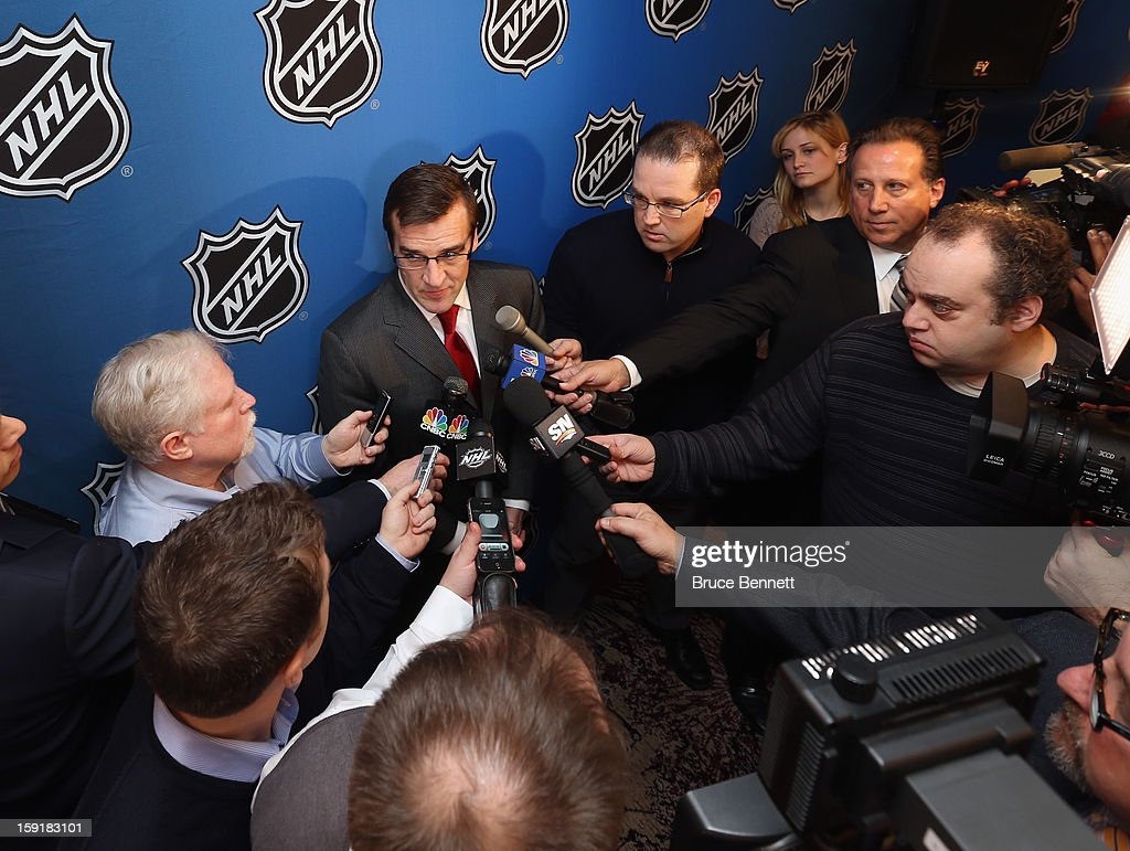 Washington Capitals General Manager George McPhee speaks with the media at a press conference announcing the start of the NHL season at the Westin Times Square on January 9, 2013 in New York City.