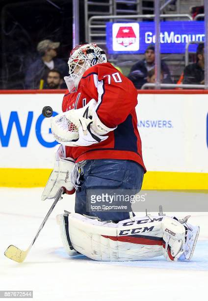 Washington Capitals goalie Braden Holtby blocks a fierce shot during a NHL game between the Washington Capitals and the Chicago Blackhawks on...