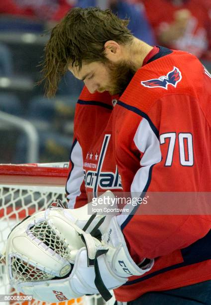 Washington Capitals goalie Braden Holtby cools off during a NHL game between the Washington Capitals and the Pittsburgh Penguins on October 11 at...