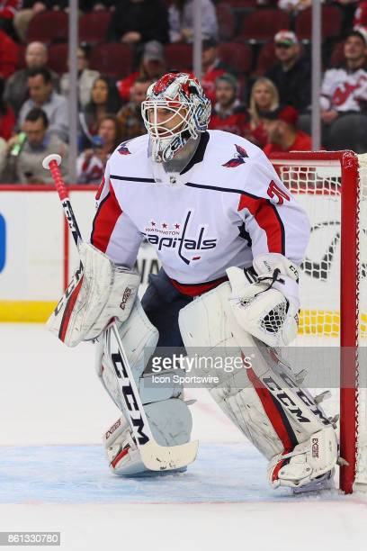 Washington Capitals goalie Braden Holtby during the National Hockey League game between the New Jersey Devils and the Washington Capitals on October...