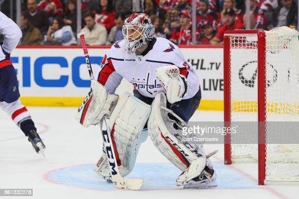 Washington Capitals goalie Braden Holtby during the third period of the National Hockey League game between the New Jersey Devils and the Washington...