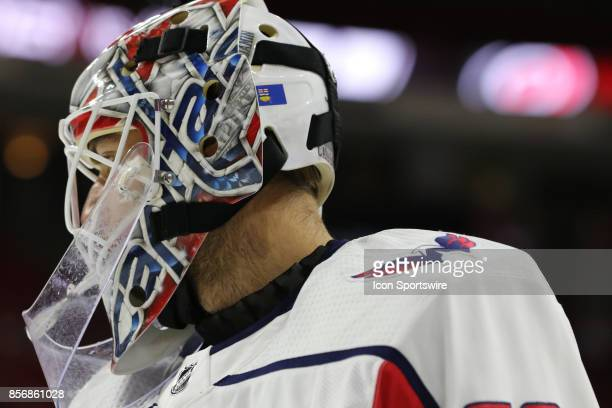 Washington Capitals goalie Braden Holtby during the warmups of the Carolina Hurricanes game versus the Washington Capitals on September 29 at PNC...