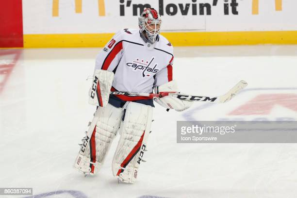 Washington Capitals goalie Braden Holtby during warm ups before the NHL game between the Washington Capitals and Tampa Bay Lightning on October 09...
