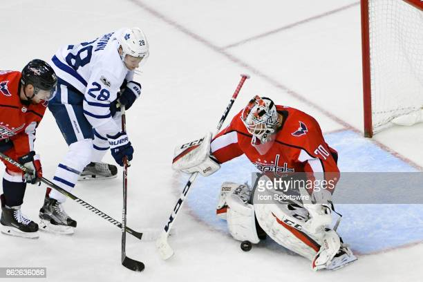 Washington Capitals goalie Braden Holtby gives up a third period goal to Toronto Maple Leafs right wing Connor Brown on October 17 at the Verizon...