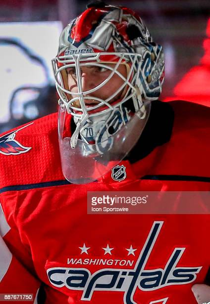 Washington Capitals goalie Braden Holtby in the spotlight before a NHL game between the Washington Capitals and the Chicago Blackhawks on December 6...