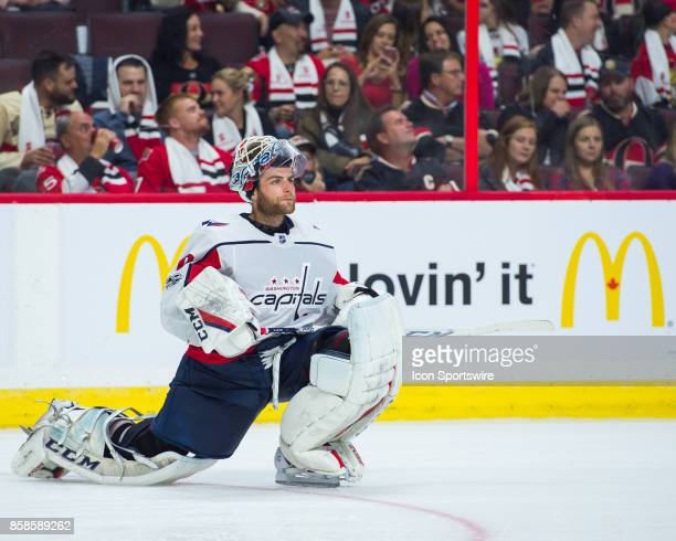 Washington Capitals Goalie Braden Holtby looks on during a break in play during the NHL game between the Ottawa Senators and the Washington Capitals...