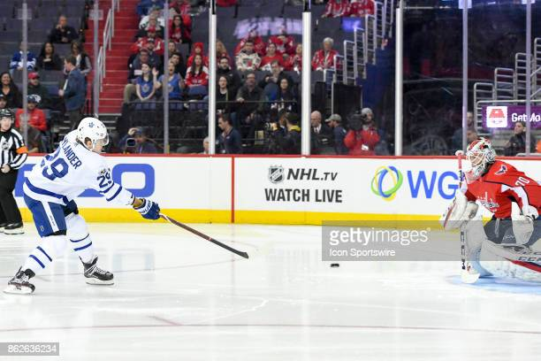 Washington Capitals goalie Braden Holtby makes a first period save on shot by Toronto Maple Leafs center William Nylander on October 17 at the...