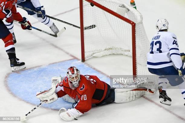 Washington Capitals goalie Braden Holtby makes a third period save on a shot by Toronto Maple Leafs center Nazem Kadri on October 17 at the Verizon...