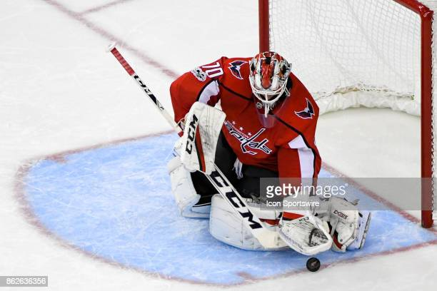 Washington Capitals goalie Braden Holtby makes a third period save on October 17 at the Capital One Arena in Washington DC The Toronto Maple Leafs...