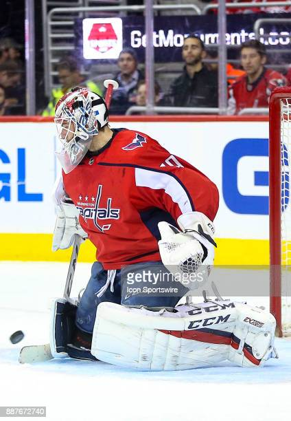 Washington Capitals goalie Braden Holtby parries a shot during a NHL game between the Washington Capitals and the Chicago Blackhawks on December 6 at...
