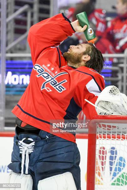 Washington Capitals goalie Braden Holtby pours water on his head prior to the game against the Toronto Maple Leafs on October 17 at the Capital One...