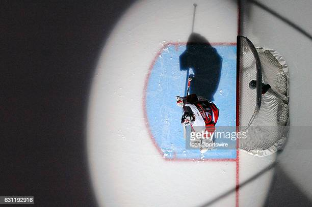 Washington Capitals goalie Braden Holtby stands in goal at the start of the game against the Columbus Blue Jackets on January 5 at the Verizon Center...