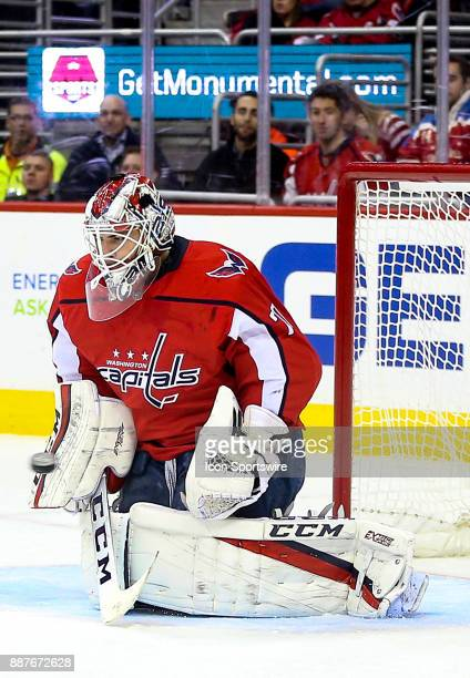 Washington Capitals goalie Braden Holtby stops a shot during a NHL game between the Washington Capitals and the Chicago Blackhawks on December 6 at...