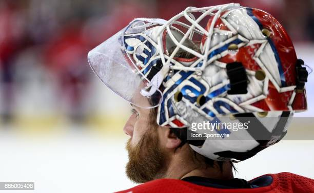 Washington Capitals goalie Braden Holtby takes a break as the ice is cleaned during a NHL game between the Washington Capitals and the Columbus Blue...