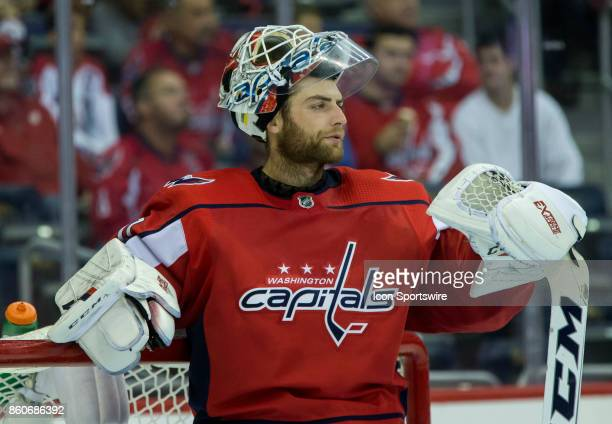 Washington Capitals goalie Braden Holtby takes a break during a NHL game between the Washington Capitals and the Pittsburgh Penguins on October 11 at...