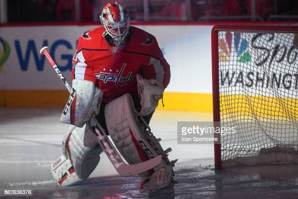 Washington Capitals goalie Braden Holtby takes the ice for the game against the Toronto Maple Leafs on October 17 at the Capital One Arena in...