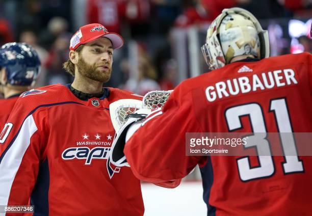 Washington Capitals goalie Braden Holtby with goalie Philipp Grubauer after a NHL game between the Washington Capitals and the San Jose Sharks on...