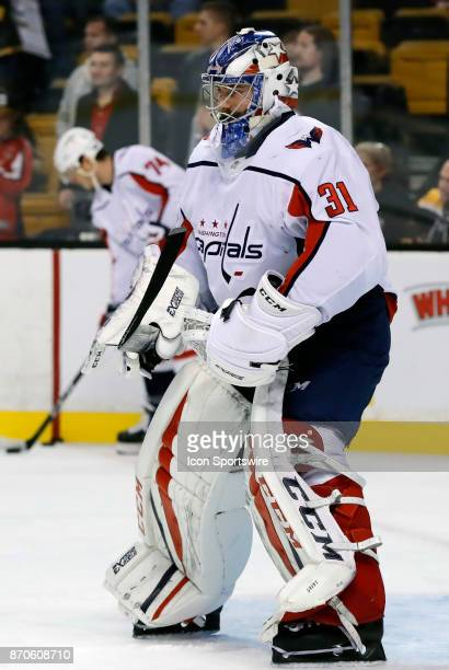 Washington Capitals goalie Philipp Grubauer before a game between the Boston Bruins and the Washington Capitals on November 4 at TD Garden in Boston...