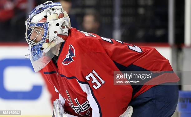 Washington Capitals goalie Philipp Grubauer during a lull in the play during a NHL game between the Washington Capitals and the San Jose Sharks on...
