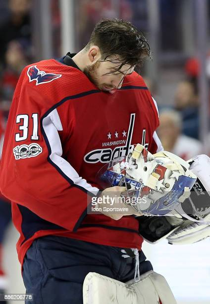 Washington Capitals goalie Philipp Grubauer during a pause in the action during a NHL game between the Washington Capitals and the San Jose Sharks on...