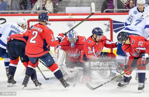Washington Capitals goalie Philipp Grubauer makes one of his 25 saves against the Tampa Bay Lightning at Capital One Arena
