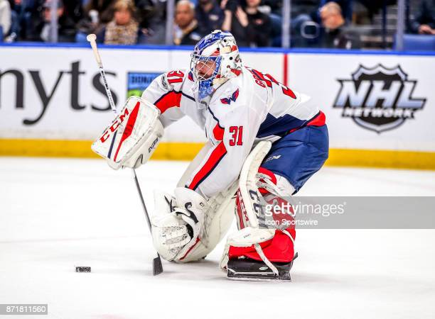 Washington Capitals goalie Philipp Grubauer passes the puck during an NHL game between the Washington Capitals and Buffalo Sabres on November 07 at...