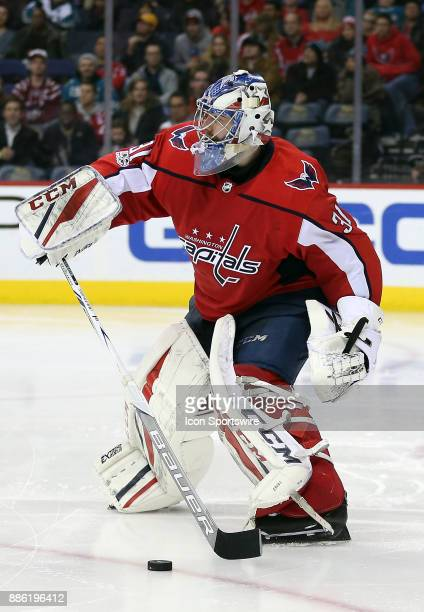 Washington Capitals goalie Philipp Grubauer stops the puck during a NHL game between the Washington Capitals and the San Jose Sharks on December 4 at...