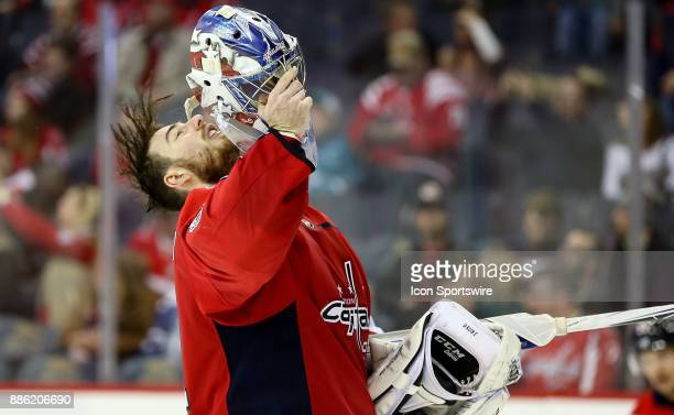 Washington Capitals goalie Philipp Grubauer takes a breather during a NHL game between the Washington Capitals and the San Jose Sharks on December 4...