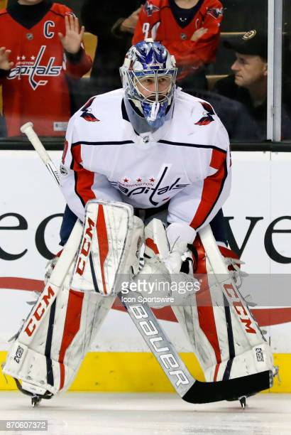 Washington Capitals goalie Philipp Grubauer waits for his turn to warm up before a game between the Boston Bruins and the Washington Capitals on...