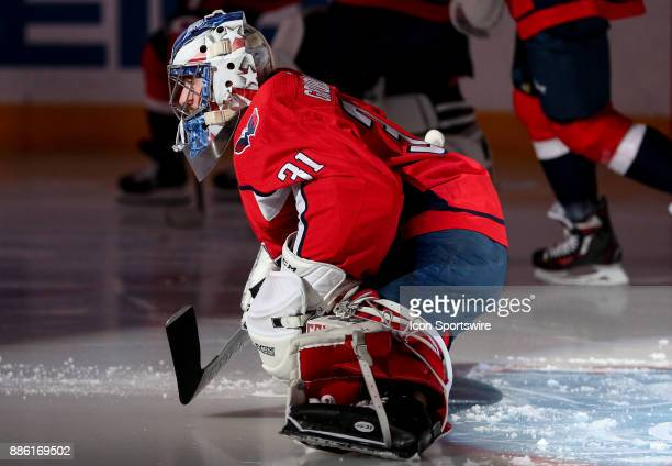 Washington Capitals goalie Philipp Grubauer warms up before a NHL game between the Washington Capitals and the San Jose Sharks on December 4 at...