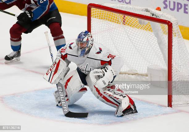 Washington Capitals goalies Philipp Grubauer waits for a shot during a regular season game between the Colorado Avalanche and the visiting Washington...