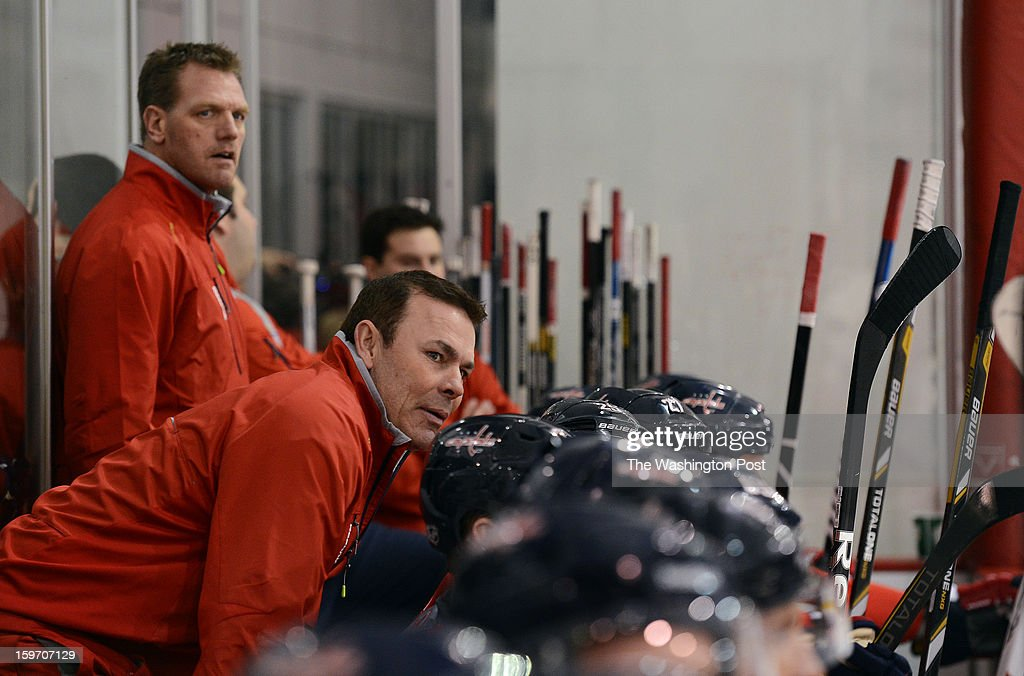 Washington Capitals head coach Adam Oates during a scrimmage against the team's ECHL farm affiliate-the Reading Royals- at the Kettler IcePlex on Tuesday, January 15, 1013.