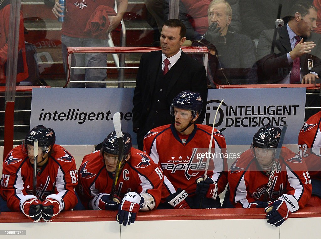 Washington Capitals head coach Adam Oates watches from the bench during the third period against the Montreal Canadiens at the Verizon Center in Washington, D.C., Thursday, January 24, 2013. The Canadiens defeated the Capitals, 4-1.