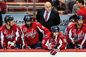 Washington Capitals head coach Barry Trotz keeps an eye on the ice in the second period at Verizon Center March 2015 in Washington DC
