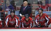 Washington Capitals head coach Barry Trotz looks on during first period action against the New York Islanders during Game One first round of the...