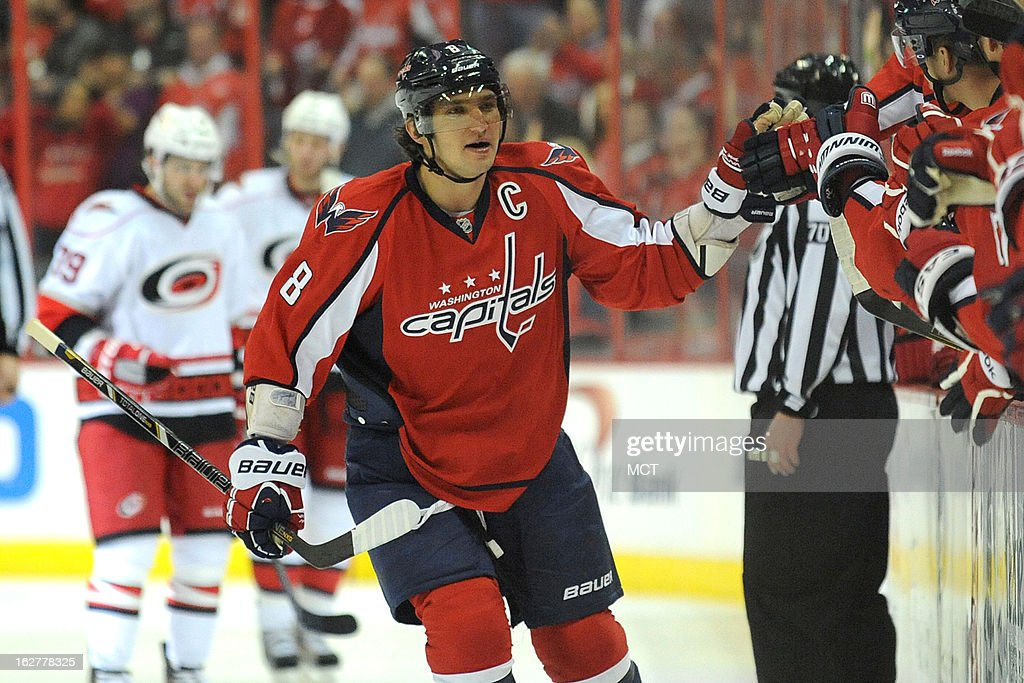 Washington Capitals left wing Alex Ovechkin (8) celebrates the team's first goal in the first period against the Carolina Hurricanes at the Verizon Center in Washington, D.C., Tuesday, February 26, 2013.