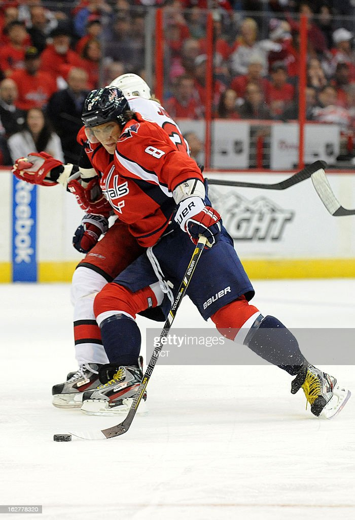 Washington Capitals left wing Alex Ovechkin (8) controls the puck in the first period against the Carolina Hurricanes at the Verizon Center in Washington, D.C., Tuesday, February 26, 2013.