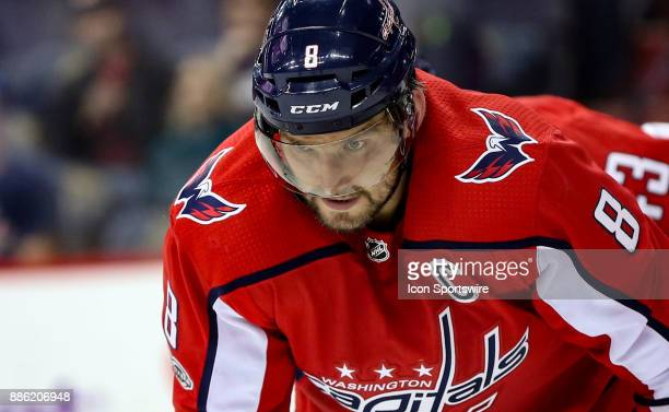 Washington Capitals left wing Alex Ovechkin gets set for a face off during a NHL game between the Washington Capitals and the San Jose Sharks on...