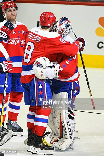 Washington Capitals left wing Alex Ovechkin hugs goalie Braden Holtby following his shut out of the Columbus Blue Jackets on January 5 at the Verizon...