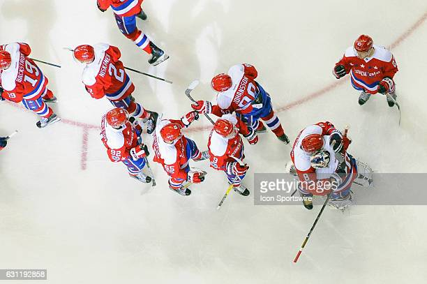 Washington Capitals left wing Alex Ovechkin hugs goalie Braden Holtby following the game against the Columbus Blue Jackets on January 5 at the...