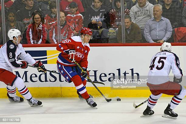 Washington Capitals left wing Andre Burakovsky skates against the Columbus Blue Jackets defenseman Zach Werenski in the third period on January 5 at...