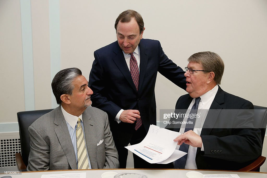 Washington Capitals majority owner Ted Leonsis, NHL Commissioner <a gi-track='captionPersonalityLinkClicked' href=/galleries/search?phrase=Gary+Bettman&family=editorial&specificpeople=215089 ng-click='$event.stopPropagation()'>Gary Bettman</a> and Hockey USA Executive Director Dave Ogrean participate in a briefing on the state of hockey with members of the Congressional Hockey Caucus in the Rayburn House Office Building April 24, 2013 in Washington, DC. The recipients of the inaugural NHL/Thurgood Marshall College Fund scholarships were also announced during the event.