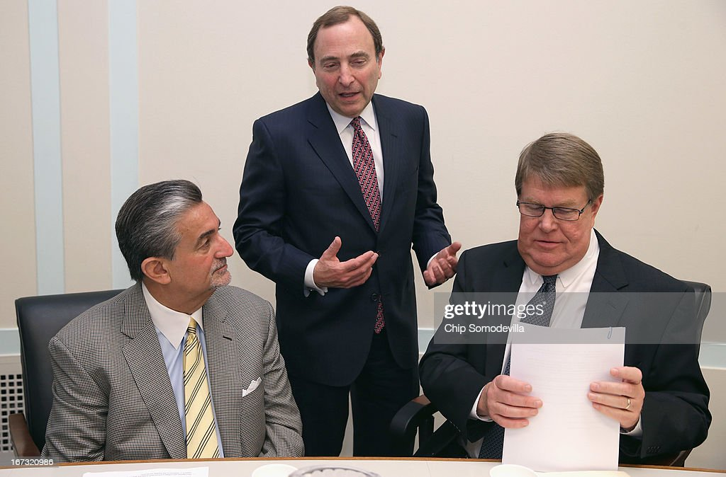 Washington Capitals majority owner <a gi-track='captionPersonalityLinkClicked' href=/galleries/search?phrase=Ted+Leonsis&family=editorial&specificpeople=2248725 ng-click='$event.stopPropagation()'>Ted Leonsis</a>, NHL Commissioner <a gi-track='captionPersonalityLinkClicked' href=/galleries/search?phrase=Gary+Bettman&family=editorial&specificpeople=215089 ng-click='$event.stopPropagation()'>Gary Bettman</a> and Hockey USA Executive Director Dave Ogrean participate in a briefing on the state of hockey with members of the Congressional Hockey Caucus in the Rayburn House Office Building April 24, 2013 in Washington, DC. The recipients of the inaugural NHL/Thurgood Marshall College Fund scholarships were also announced during the event.