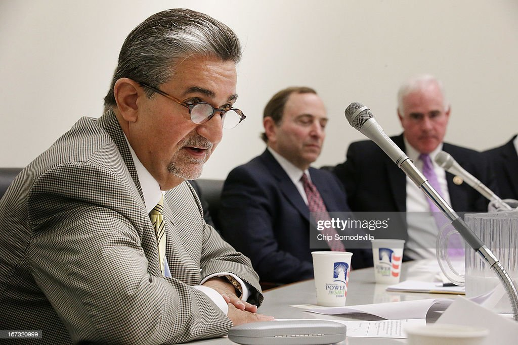 Washington Capitals majority owner <a gi-track='captionPersonalityLinkClicked' href=/galleries/search?phrase=Ted+Leonsis&family=editorial&specificpeople=2248725 ng-click='$event.stopPropagation()'>Ted Leonsis</a>, NHL Commissioner <a gi-track='captionPersonalityLinkClicked' href=/galleries/search?phrase=Gary+Bettman&family=editorial&specificpeople=215089 ng-click='$event.stopPropagation()'>Gary Bettman</a> and Hockey USA Executive Director Dave Ogrean and Congressional Hockey Caucus member Rep. Pat Meehan (R-PA) participate in a briefing on the state of hockey in the Rayburn House Office Building April 24, 2013 in Washington, DC. The Capitals clinched their fifth Southeast Division title in the past six years and are headed to the playoffs.
