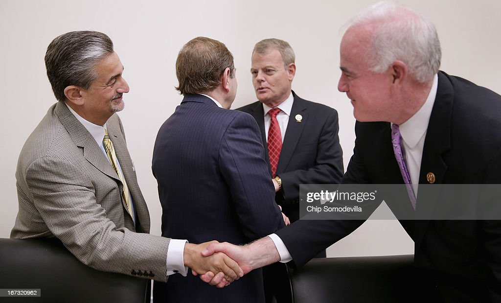 Washington Capitals majority owner Ted Leonsis (L) shakes hands with Congressional Hockey Caucus member Rep. Pat Meehan (R-PA) after a panel discussion about the state of hockey in the Rayburn House Office Building April 24, 2013 in Washington, DC. The recipients of the inaugural NHL/Thurgood Marshall College Fund scholarships were also announced during the event.