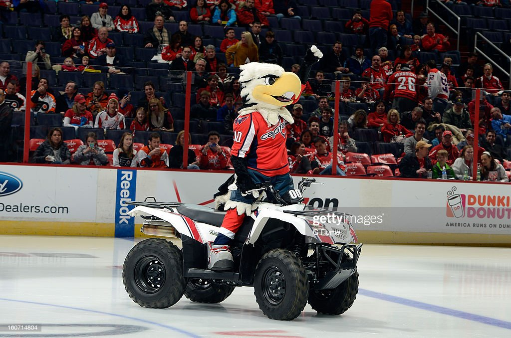 Washington Capitals mascot Slapshot performs before the game against the Philadelphia Flyers at the Verizon Center on February 1, 2013 in Washington, DC.