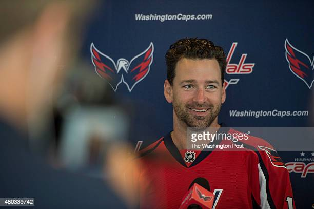 Washington Capitals new right wing Justin Williams answers questions during a press conference at the Kettler Capitals Iceplex in Ballston Virginia...