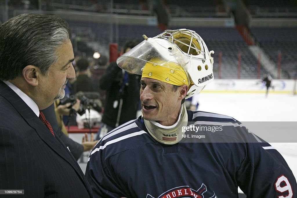 Washington Capitals owner Ted Leonsis (L) and U.S. Rep. Anthony Weiner (D-NY) attend the Congressional Hockey Challenge charity game to benefit Fort Dupont Ice Hockey Club at the Verizon Center on March 10, 2011 in Washington, DC.