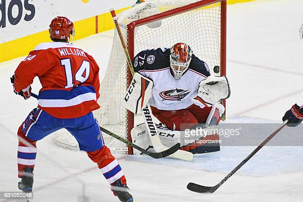 Washington Capitals right wing Justin Williams scores a goal in the third period against Columbus Blue Jackets goalie Sergei Bobrovsky on January 5...