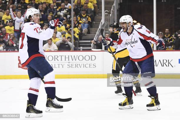 Washington Capitals right wing TJ Oshie celebrates his goal with Washington Capitals left wing Alex Ovechkin during the first period in Game Six of...